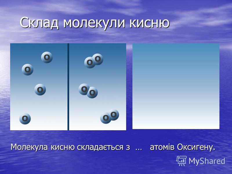 Молекула кисню складається з … атомів Оксигену. Склад молекули кисню