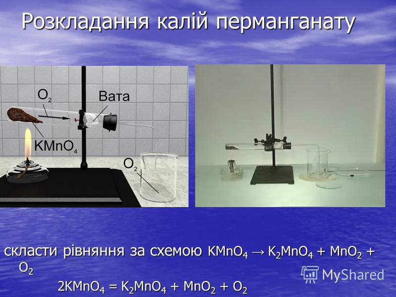 Розкладання калій перманганату скласти рівняння за схемою KMnO 4 K 2 MnO 4 + MnO 2 + O 2 2KMnO 4 = K 2 MnO 4 + MnO 2 + O 2 2KMnO 4 = K 2 MnO 4 + MnO 2 + O 2