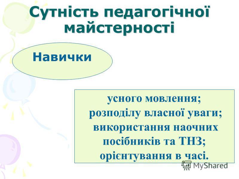 Сутність педагогічної майстерності Навички усного мовлення; розподілу власної уваги; використання наочних посібників та ТНЗ; орієнтування в часі.
