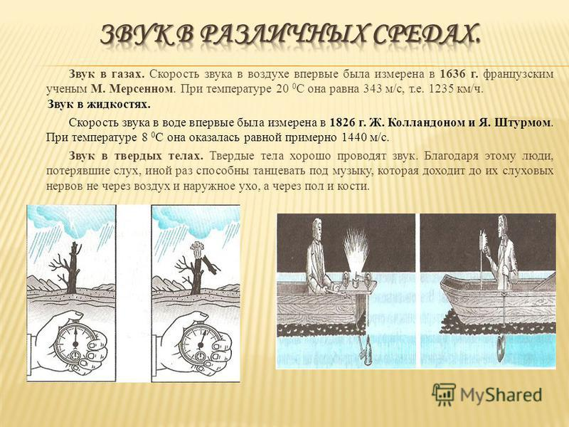 Звук в газах. Скорость звука в воздухе впервые была измерена в 1636 г. французским ученым М. Мерсенном. При температуре 20 0 С она равна 343 м/с, т.е. 1235 км/ч. Звук в жидкостях. Скорость звука в воде впервые была измерена в 1826 г. Ж. Колландоном и