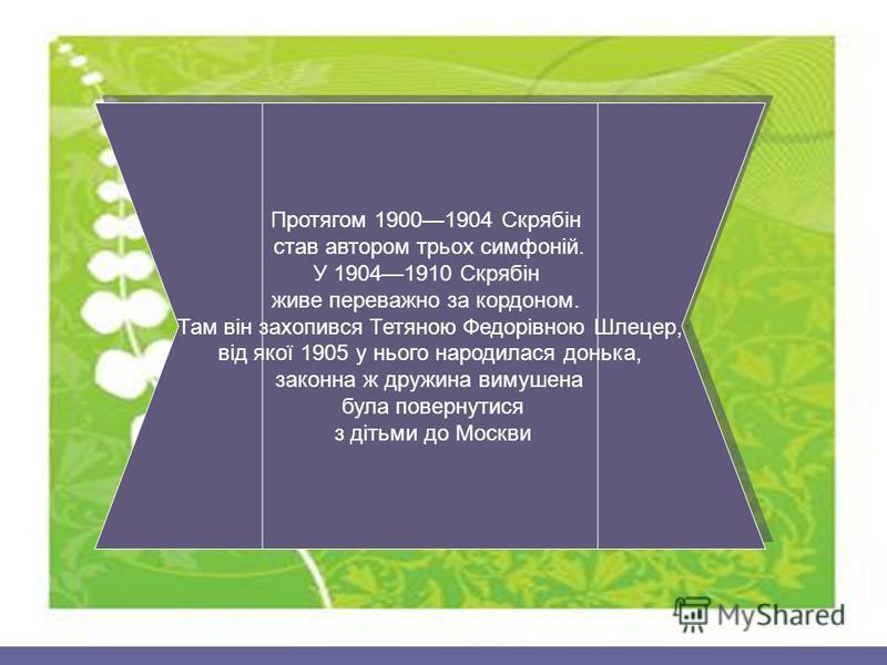 Протягом 19001904 Скрябін став автором трьох симфоній. У 19041910 Скрябін живе переважно за кордоном. Там він захопився Тетяною Федорівною Шлецер, від якої 1905 у нього народилася донька, законна ж дружина вимушена була повернутися з дітьми до Москви