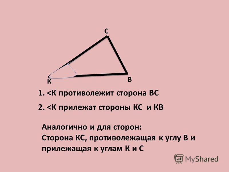 К В С 1. <К противолежит сторона ВС 2. <К прилежат стороны КС и КВ Аналогично и для сторон: Сторона КС, противолежащая к углу В и прилежащая к углам К и С