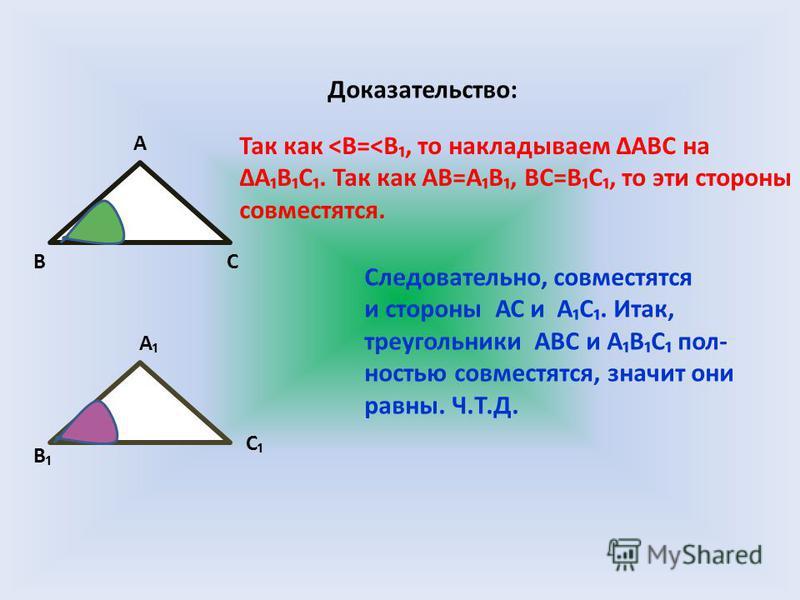Доказательство: ВС А А С В Так как <В=<В, то накладываем АВС на АВС. Так как АВ=АВ, ВС=ВС, то эти стороны совместятся. Следовательно, совместятся и стороны АС и АС. Итак, треугольники АВС и АВС полностью совместятся, значит они равны. Ч.Т.Д.