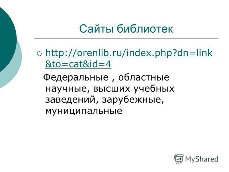 Сайты библиотек http://orenlib.ru/index.php?dn=link &to=cat&id=4 http://orenlib.ru/index.php?dn=link &to=cat&id=4 Федеральные, областные научные, высших учебных заведений, зарубежные, муниципальные