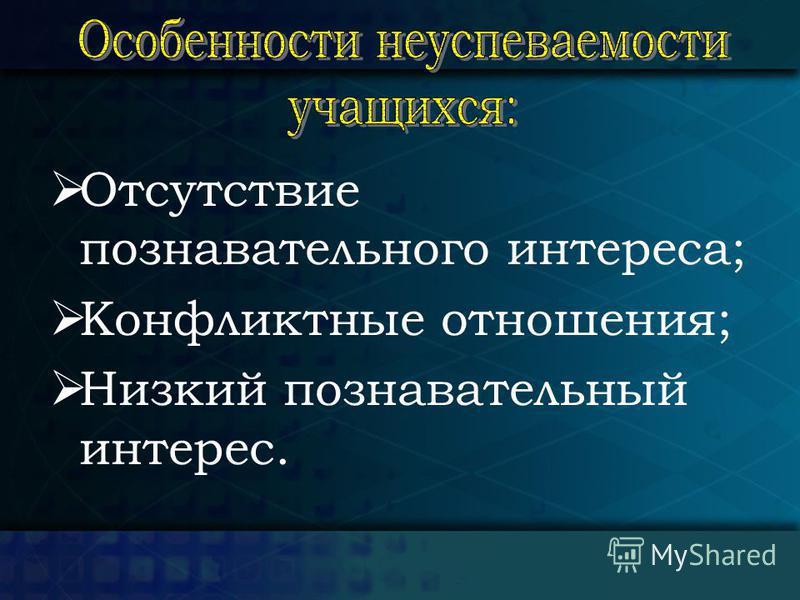 Отсутствие познавательного интереса; Конфликтные отношения; Низкий познавательный интерес.