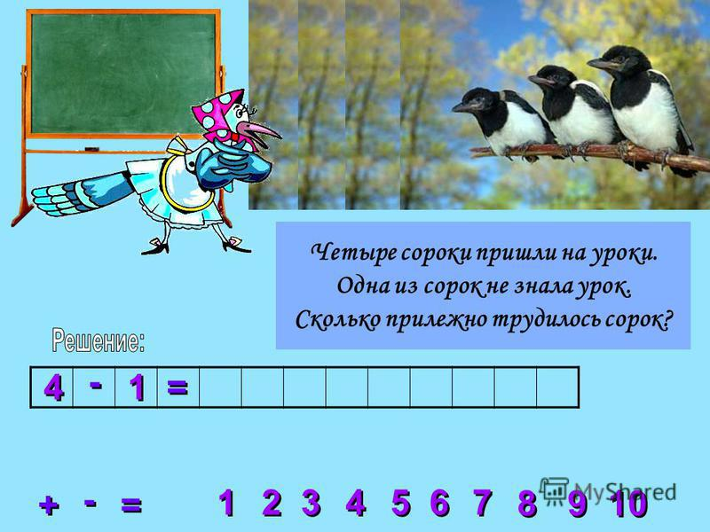 2 2 3 3 4 4 5 5 6 6 7 7 8 8 1 1 9 9 10 + + = = - - 4 4 - - 1 1 = = Четыре сороки пришли на уроки. Одна из сорок не знала урок. Сколько прилежно трудилось сорок?