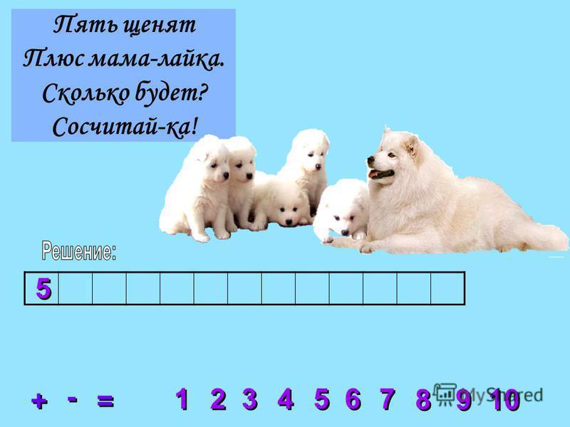 Пять щенят Плюс мама-лайка. Сколько будет? Сосчитай-ка! 2 2 3 3 4 4 5 5 6 6 7 7 8 8 1 1 9 9 10 + + = = - - 5 5