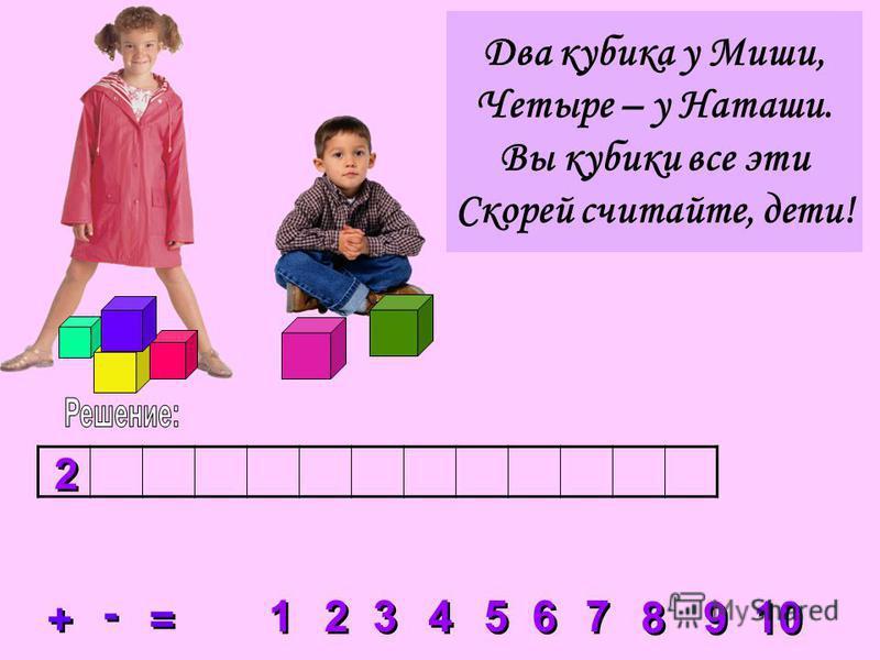 2 2 3 3 4 4 5 5 6 6 7 7 8 8 1 1 9 9 10 + + = = - - 2 2 Два кубика у Миши, Четыре – у Наташи. Вы кубики все эти Скорей считайте, дети!