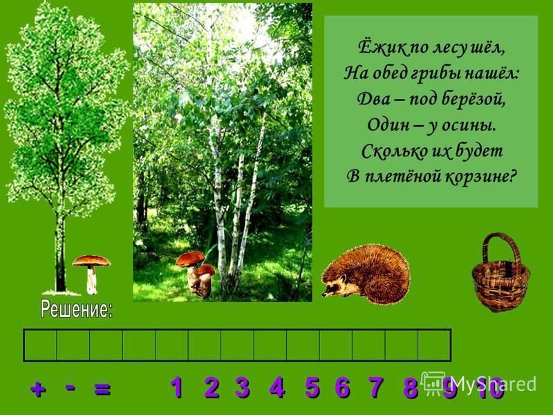 2 2 3 3 4 4 5 5 6 6 7 7 8 8 1 1 9 9 10 + + = = - - Ёжик по лесу шёл, На обед грибы нашёл: Два – под берёзой, Один – у осины. Сколько их будет В плетёной корзине?