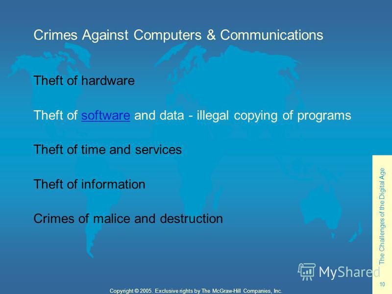 The Challenges of the Digital Age 10 Copyright © 2005. Exclusive rights by The McGraw-Hill Companies, Inc. Crimes Against Computers & Communications Theft of hardware Theft of software and data - illegal copying of programssoftware Theft of time and