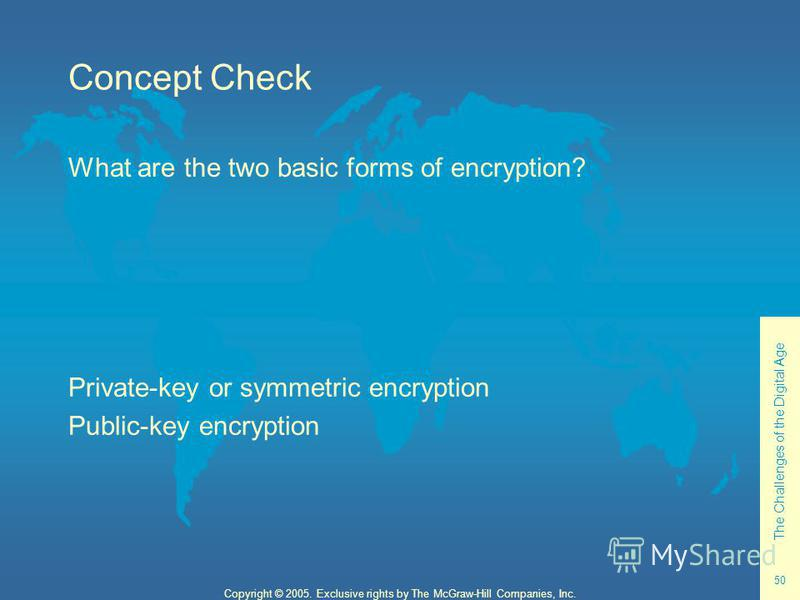The Challenges of the Digital Age 50 Copyright © 2005. Exclusive rights by The McGraw-Hill Companies, Inc. Concept Check What are the two basic forms of encryption? Private-key or symmetric encryption Public-key encryption