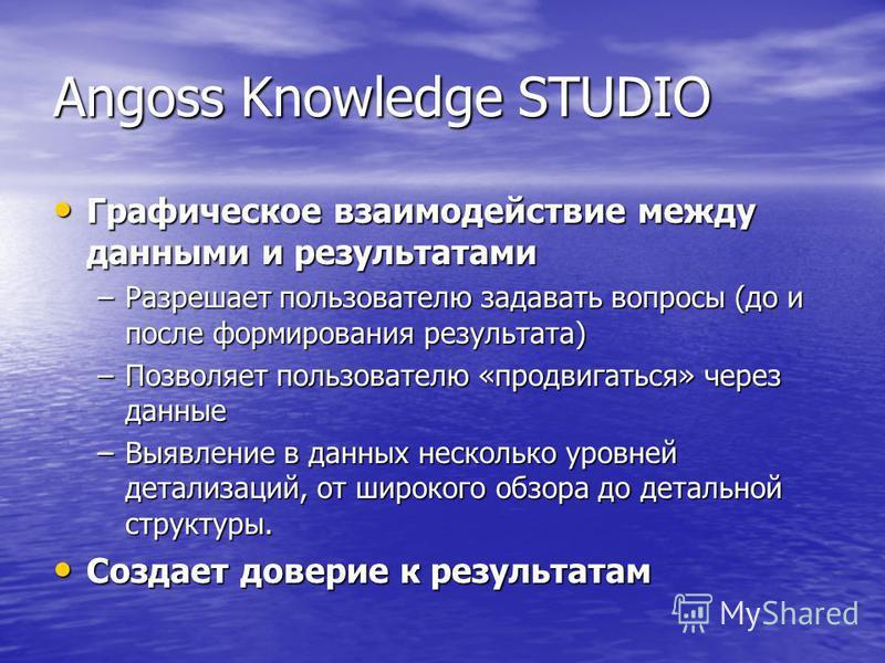 Angoss Knowledge STUDIO Графическое взаимодействие между данными и результатами Графическое взаимодействие между данными и результатами –Разрешает пользователю задавать вопросы (до и после формирования результата) –Позволяет пользователю «продвигатьс