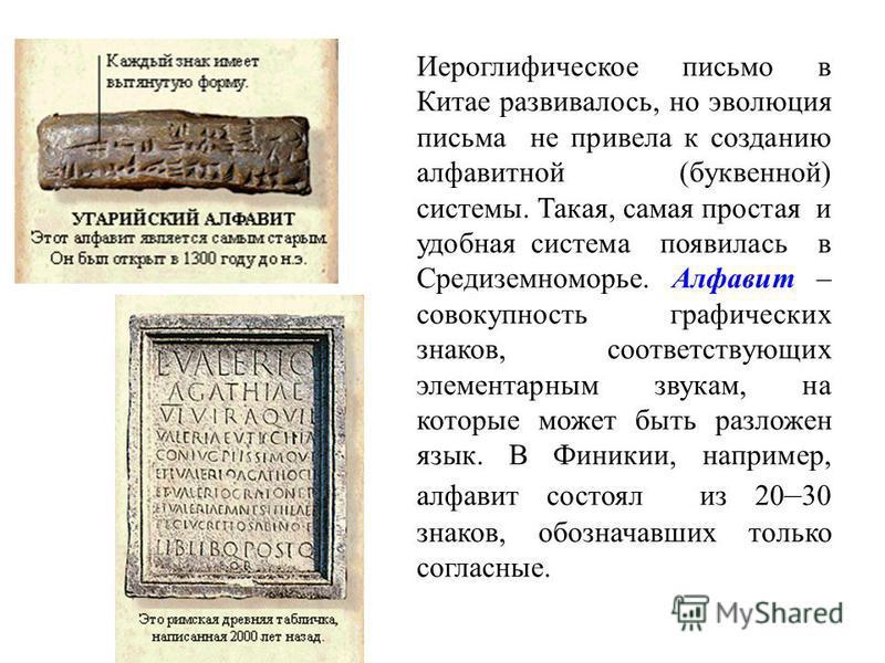 Иероглифическое письмо в Китае развивалось, но эволюция письма не привела к созданию алфавитной (буквенной) системы. Такая, самая простая и удобная система появилась в Средиземноморье. Алфавит – совокупность графических знаков, соответствующих элемен