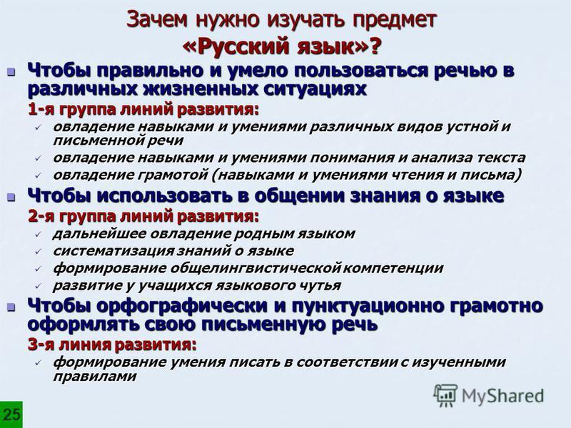 Зачем нужно изучать предмет «Русский язык»? Чтобы правильно и умело пользоваться речью в различных жизненных ситуациях Чтобы правильно и умело пользоваться речью в различных жизненных ситуациях 1-я группа линий развития: овладение навыками и умениями