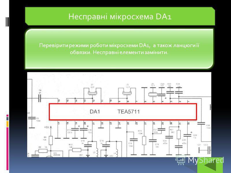 Несправні мікросхема DA1 Перевірити режими роботи мікросхеми DA1, а також ланцюги її обвязки. Несправні елементи замінити.