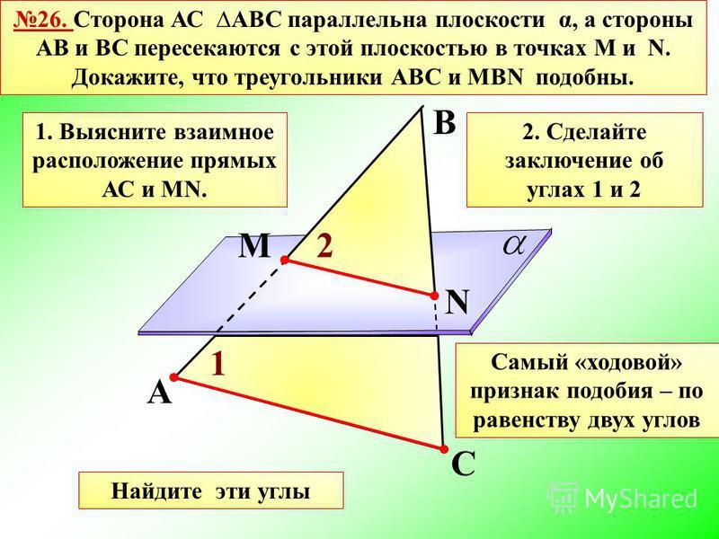 26. Сторона АС АВС параллельна плоскости α, а стороны АВ и ВС пересекаются с этой плоскостью в точках М и N. Докажите, что треугольники АВС и МВN подобны. А С В М N Самый «ходовой» признак подобия – по равенству двух углов Найдите эти углы 1. Выяснит