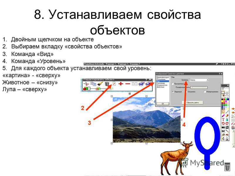 8. Устанавливаем свойства объектов 1. Двойным щелчком на объекте 2. Выбираем вкладку «свойства объектов» 3. Команда «Вид» 4. Команда «Уровень» 5. Для каждого объекта устанавливаем свой уровень: «картина» - «сверху» Животное – «снизу» Лупа – «сверху»