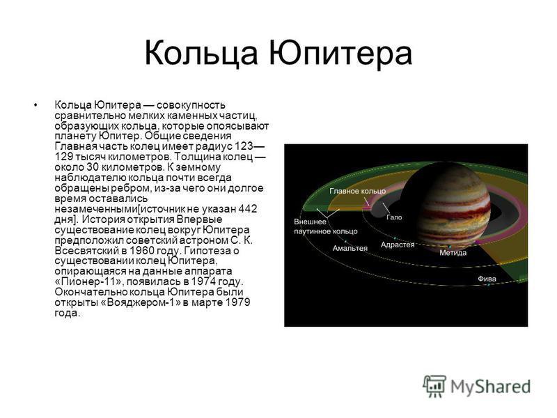 Кольца Юпитера Кольца Юпитера совокупность сравнительно мелких каменных частиц, образующих кольца, которые опоясывают планету Юпитер. Общие сведения Главная часть колец имеет радиус 123 129 тысяч километров. Толщина колец около 30 километров. К земно