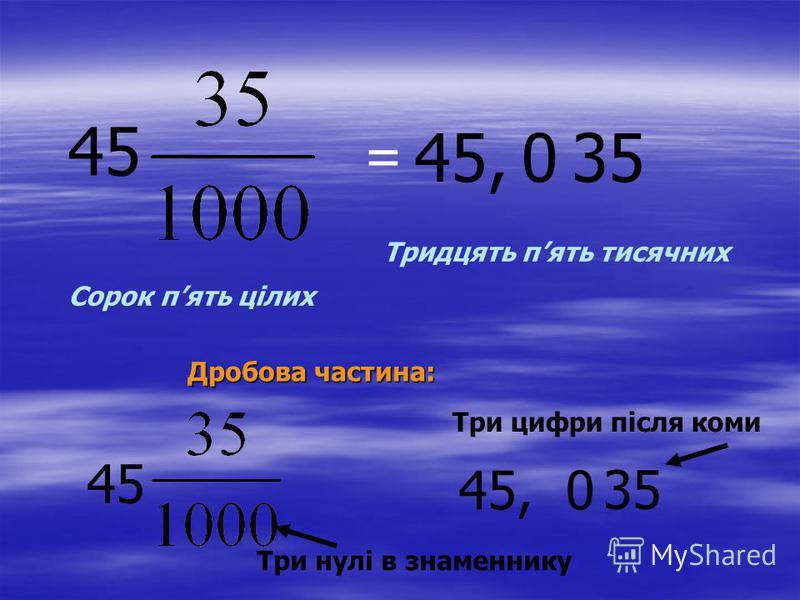 Записані в такій формі дроби, в яких знаменники є степенями десяти, тобто числами 10, 100 1000 і т.д., називають десятковими дробами. Записані в такій формі дроби, в яких знаменники є степенями десяти, тобто числами 10, 100 1000 і т.д., називають дес