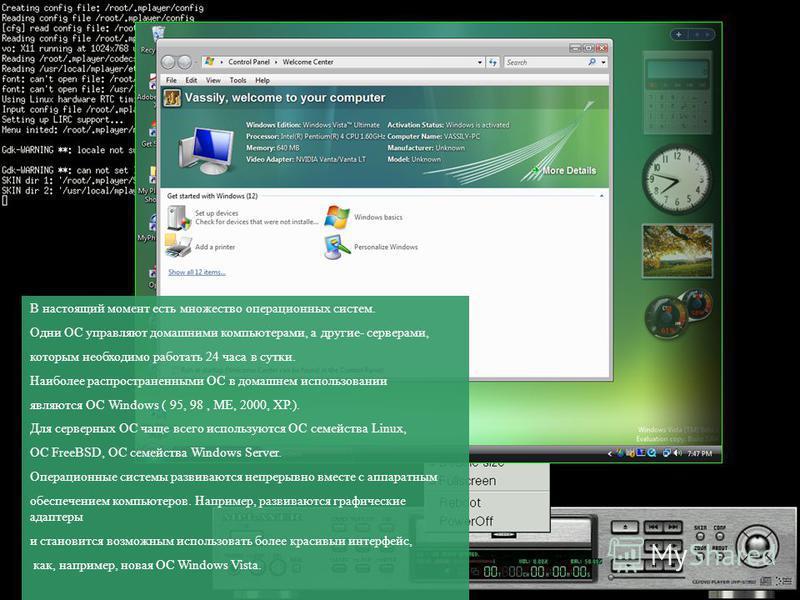 В настоящий момент есть множество операционных систем. Одни ОС управляют домашними компьютерами, а другие- серверами, которым необходимо работать 24 часа в сутки. Наиболее распространенными ОС в домашнем использовании являются ОС Windows ( 95, 98, ME