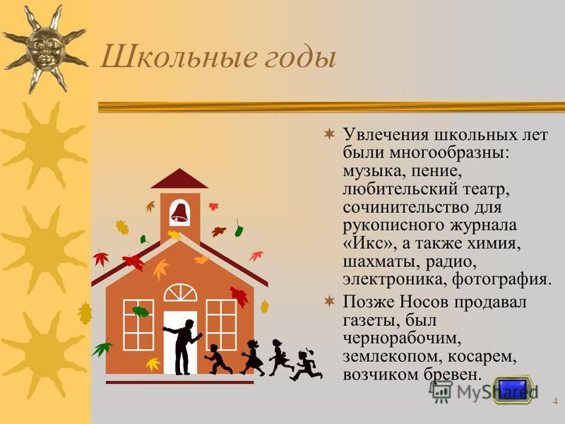 3 Родился Николай Носов 23 ноября 1908 года на Украине в Киеве