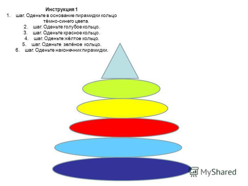 Инструкция 1 1.шаг. Оденьте в основание пирамидки кольцо тёмно-синего цвета. 2.шаг. Оденьте голубое кольцо. 3.шаг. Оденьте красное кольцо. 4.шаг. Оденьте жёлтое кольцо. 5.шаг. Оденьте зелёное кольцо. 6.шаг. Оденьте наконечник пирамидки.