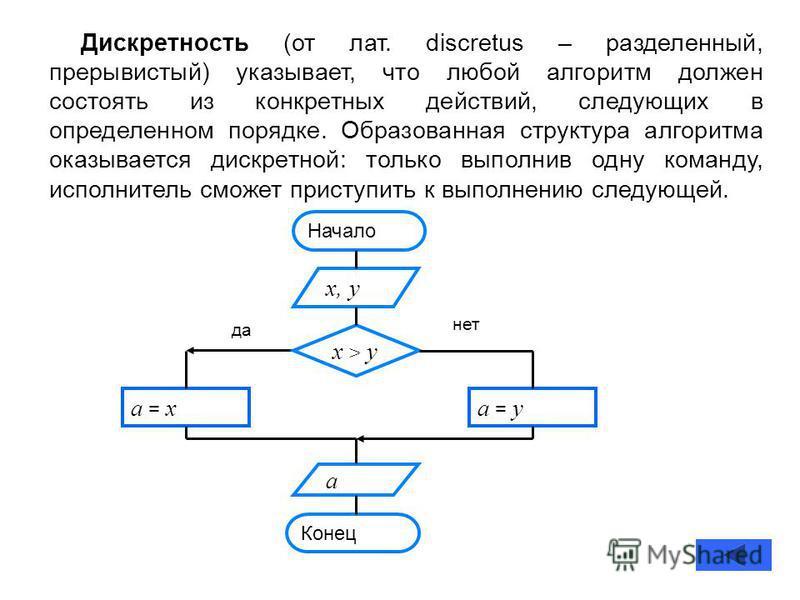 Дискретность (от лат. discretus – разделенный, прерывистый) указывает, что любой алгоритм должен состоять из конкретных действий, следующих в определенном порядке. Образованная структура алгоритма оказывается дискретной: только выполнив одну команду,