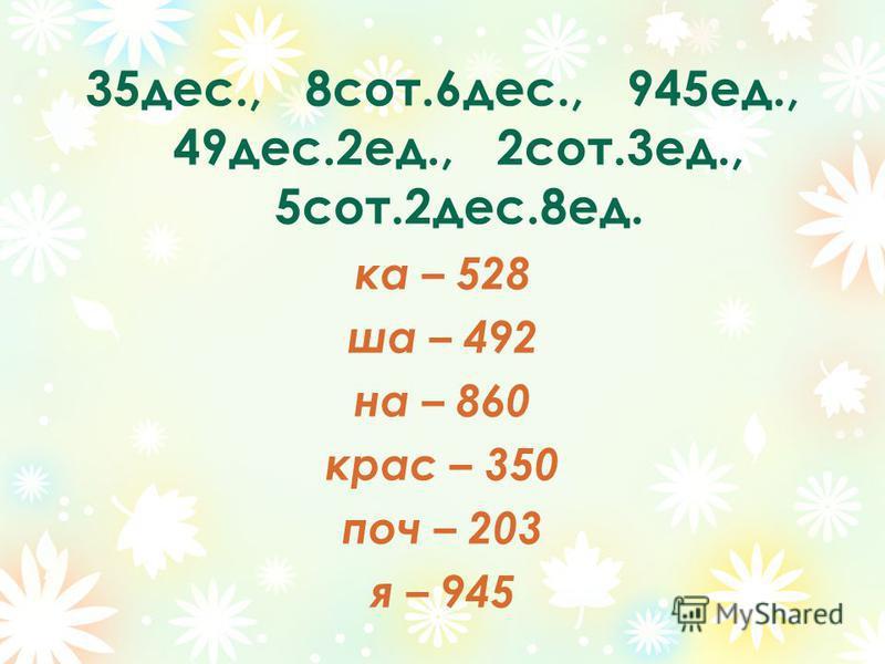 35 дес., 8 сот.6 дес., 945 ед., 49 дес.2 ед., 2 сот.3 ед., 5 сот.2 дес.8 ед. ка – 528 ша – 492 на – 860 крас – 350 поч – 203 я – 945