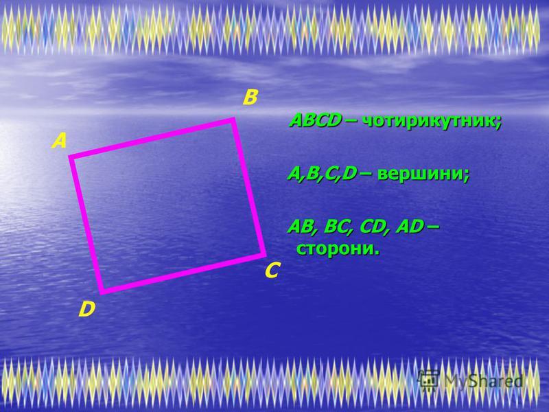АВСD – чотирикутник; А,В,С,D – вершини; АВ, ВС, СD, АD – сторони. D С В А