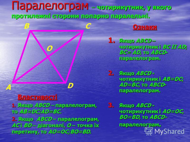 Паралелограм – чотирикутник, у якого протилежні сторони попарно паралельні. 1. Якщо АВСD – чотирикутник і ВС ІІ АD; ВС= АD, то АВСD- паралелограм. 2. Якщо АВСD - чотирикутник і АВ=DС; АD=ВС, то АВСD- паралелограм. 3. Якщо АВСD - чотирикутник і АО=ОС,