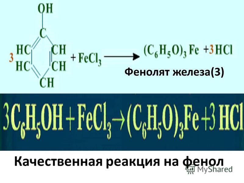 Фенолят железа(3) Качественная реакция на фенол