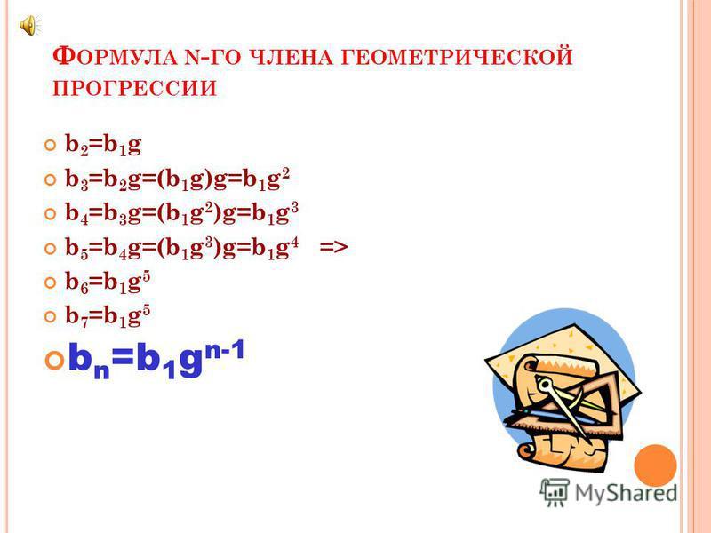 Знаменатель геометрической прогрессии b n+1 g b n