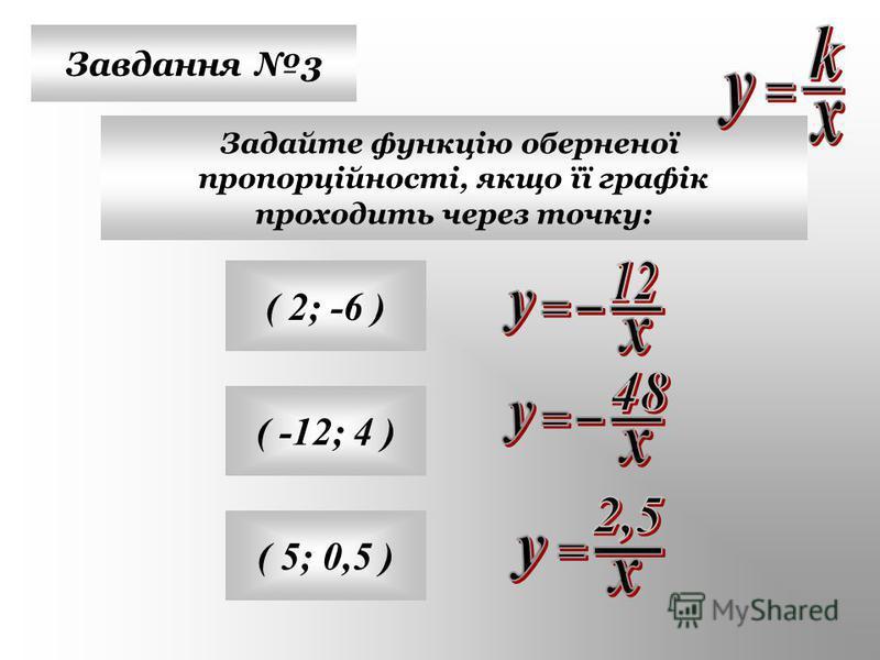 Завдання 3 Задайте функцію оберненої пропорційності, якщо її графік проходить через точку: ( 2; -6 ) ( -12; 4 ) ( 5; 0,5 )