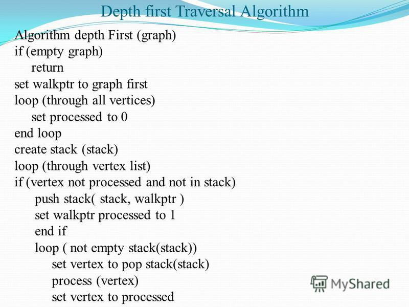 Depth first Traversal Algorithm Algorithm depth First (graph) if (empty graph) return set walkptr to graph first loop (through all vertices) set processed to 0 end loop create stack (stack) loop (through vertex list) if (vertex not processed and not