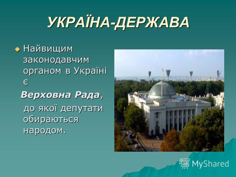 УКРАЇНА-ДЕРЖАВА Найвищим законодавчим органом в Україні є Найвищим законодавчим органом в Україні є Верховна Рада, Верховна Рада, до якої депутати обираються народом. до якої депутати обираються народом.