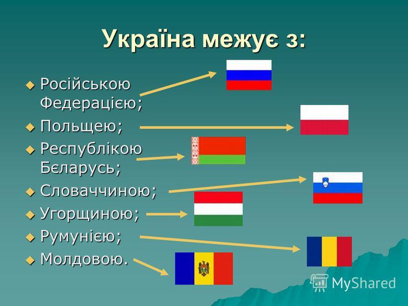 Україна межує з: Російською Федерацією; Російською Федерацією; Польщею; Польщею; Республікою Бєларусь; Республікою Бєларусь; Словаччиною; Словаччиною; Угорщиною; Угорщиною; Румунією; Румунією; Молдовою. Молдовою.