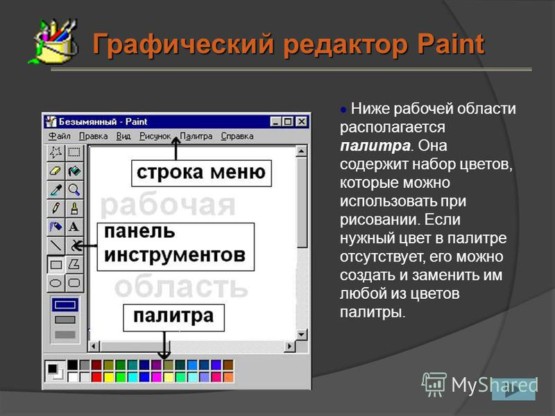 Ниже рабочей области располагается палитра. Она содержит набор цветов, которые можно использовать при рисовании. Если нужный цвет в палитре отсутствует, его можно создать и заменить им любой из цветов палитры. Графический редактор Paint