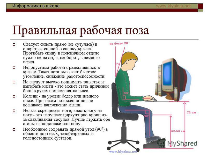Информатика в школе www.klyaksa.netwww.klyaksa.net Правильная рабочая поза Следует сидеть прямо (не сутулясь) и опираться спиной о спинку кресла. Прогибать спину в поясничном отделе нужно не назад, а, наоборот, в немного перед. Недопустимо работать р
