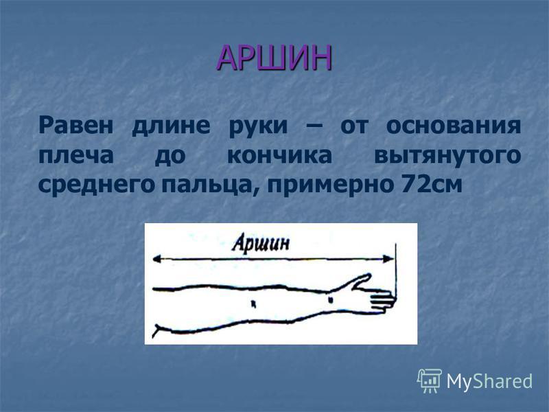 АРШИН Равен длине руки – от основания плеча до кончика вытянутого среднего пальца, примерно 72 см