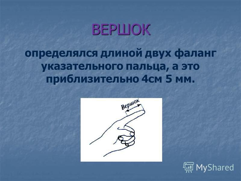 ВЕРШОК определялся длиной двух фаланг указательного пальца, а это приблизительно 4 см 5 мм.
