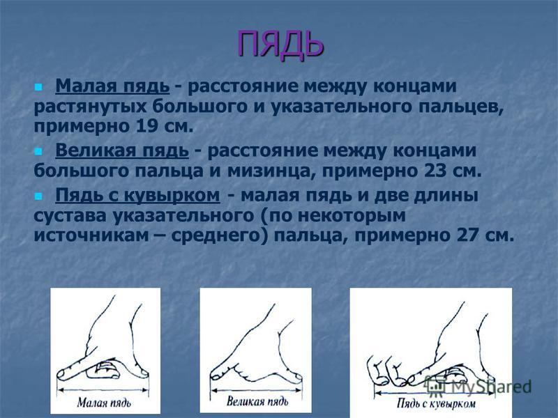 ПЯДЬ Малая пядь - расстояние между концами растянутых большого и указательного пальцев, примерно 19 см. Великая пядь - расстояние между концами большого пальца и мизинца, примерно 23 см. Пядь с кувырком - малая пядь и две длины сустава указательного