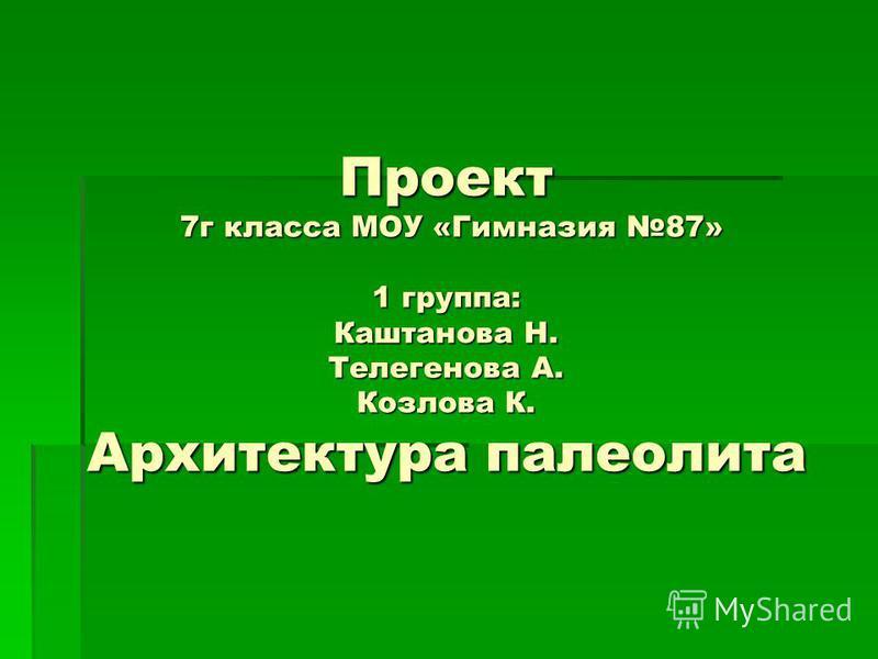 Проект 7 г класса МОУ «Гимназия 87» 1 группа: Каштанова Н. Телегенова А. Козлова К. Архитектура палеолита
