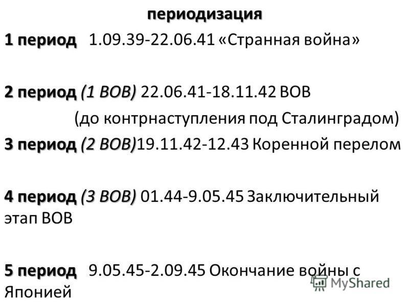 периодизация 1 период 1 период 1.09.39-22.06.41 «Странная война» 2 период (1 ВОВ) 2 период (1 ВОВ) 22.06.41-18.11.42 ВОВ (до контрнаступления под Сталинградом) 3 период (2 ВОВ) 3 период (2 ВОВ)19.11.42-12.43 Коренной перелом 4 период (3 ВОВ) 4 период