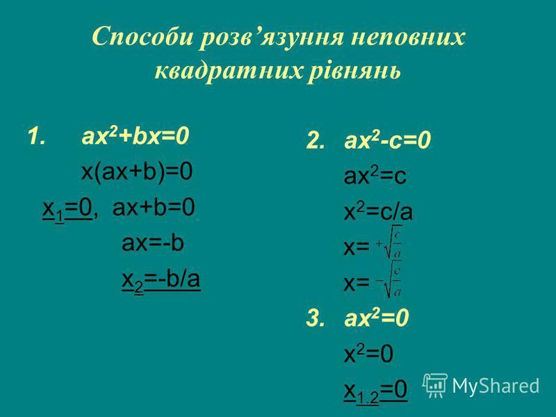 Способи розвязуння неповних квадратних рівнянь 1.ax 2 +bx=0 x(ax+b)=0 x 1 =0, ax+b=0 ax=-b x 2 =-b/a 2.ax 2 -c=0 ax 2 =c x 2 =c/a х= 3.ax 2 =0 x 2 =0 x 1.2 =0