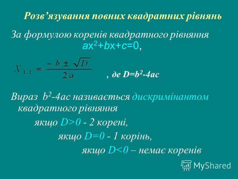 Розвязування повних квадратних рівнянь За формулою коренів квадратного рівняння ax 2 +bx+c=0,, де D=b 2 -4ac Вираз b 2 -4ac називається дискримінантом квадратного рівняння якщо D>0 - 2 корені, якщо D=0 - 1 корінь, якщо D<0 – немає коренів