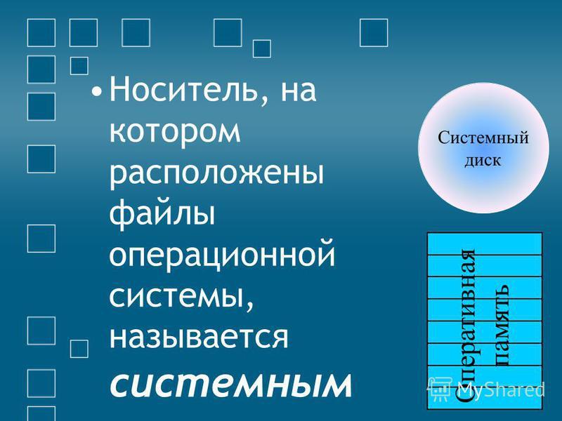 Носитель, на котором расположены файлы операционной системы, называется системным Системный диск Оперативная память