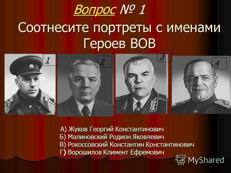II тур Герои Великой Отечественной войны И исторические деятели