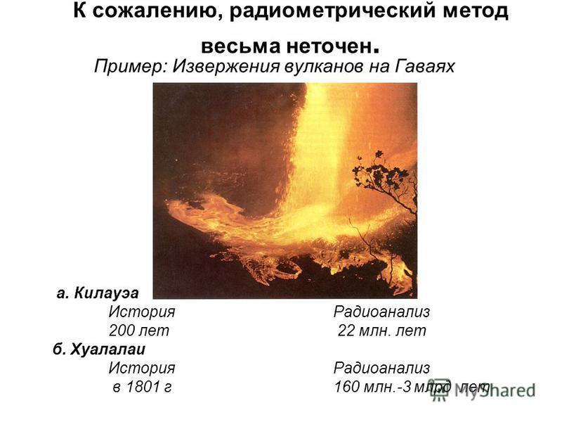 К сожалению, радиометрический метод весьма неточен. Пример: Извержения вулканов на Гаваях а. Килауэа История Радиоанализ 200 лет 22 млн. лет б. Хуалалаи История Радиоанализ в 1801 г 160 млн.-3 млрд лет