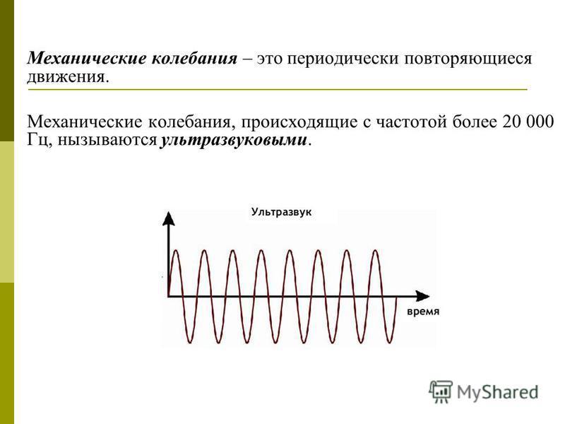 Механические колебания – это периодически повторяющиеся движения. Механические колебания, происходящие с частотой более 20 000 Гц, называются ультразвуковыми.