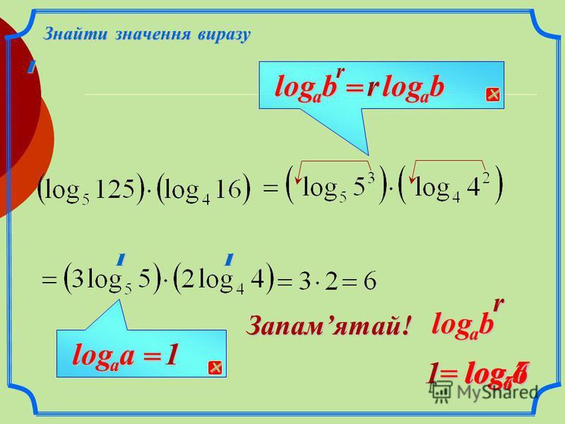Властивості логарифмів Логарифм степеня rrb a log = rb a log